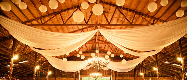 paper lanterns for barn style wedding